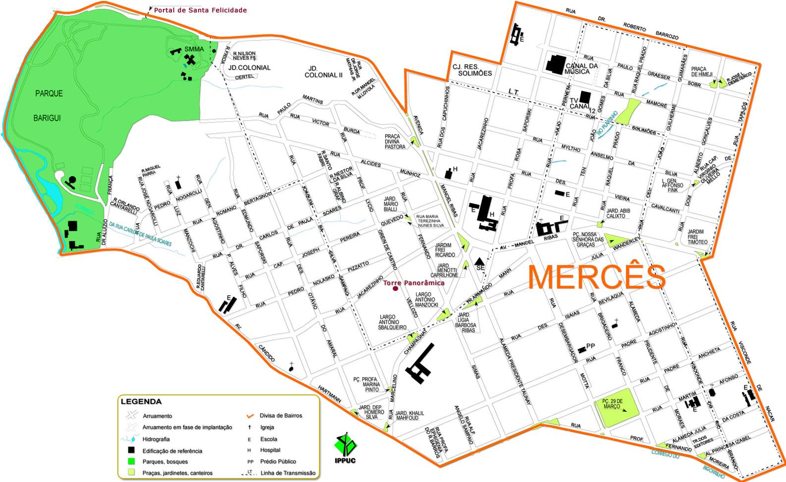 Guia Geográfico Curitiba - Mapa do Bairro Mercês, Canal da Música ...